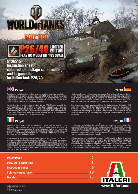 ITALERI - World of Tanks - P26/40 Limited Edition