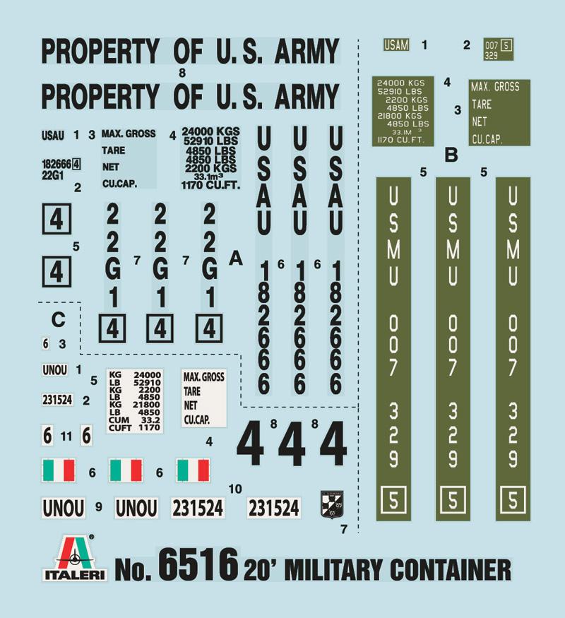 Neu Italeri 6516-1//35 20´ Military Container