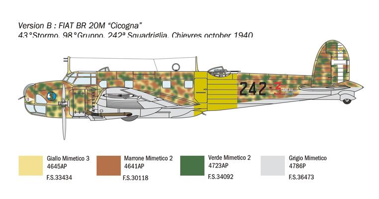 Neu Italeri 1447-1//72 Fiat BR.20 Cicogna