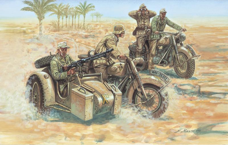 WW2 tedesco Motocicletta Moto Sidecar 2 MINIFIGURES SOLDATI TRUPPE