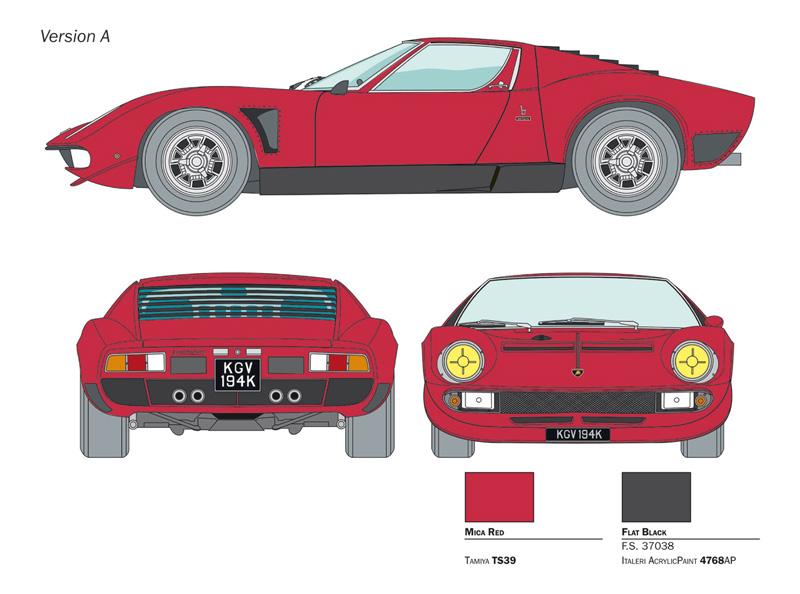 Italeri Lamborghini Miura Jota Svj